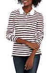 Long Sleeve 5 Button Striped Polo Shirt