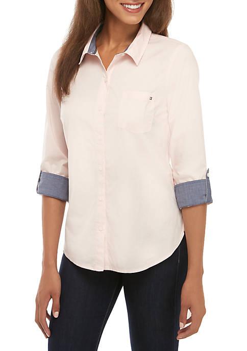 Solid Roll Tab Shirt