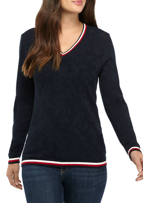 Womens Ivy Pointelle Long Sleeve Top with Tipping