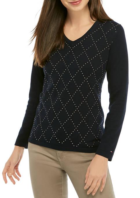 Womens Ivy Argyle Stud Shirt