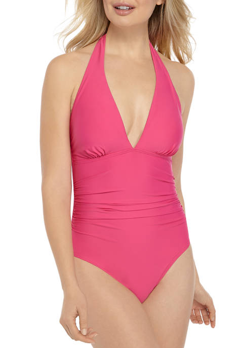 Shirred Front Halter One Piece Swimsuit