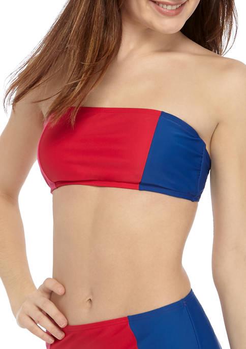 Color Block Bandeau Swim Top