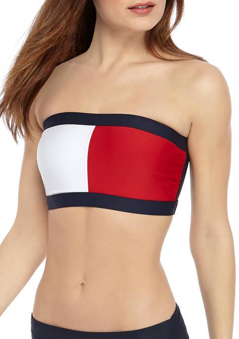 Iconic Color Block Bandeau Swim Top