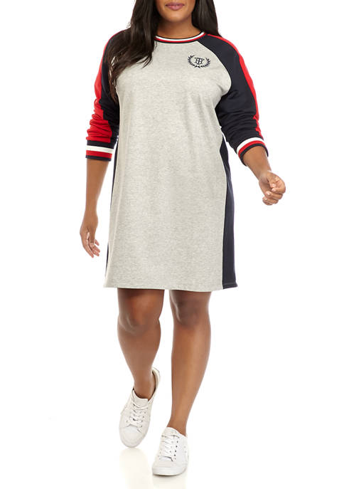 Plus Size Long Sleeve Pieced Trim Dress