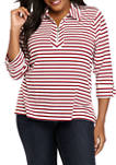 Plus Size Half Zip Stripe Top