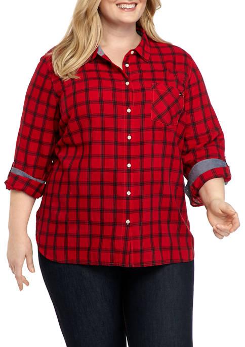 Plus Size Roll Tab Windowpane Button Down Shirt