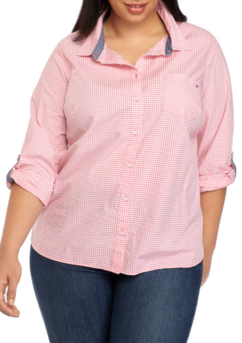 Plus Size Roll Tab Gingham Shirt