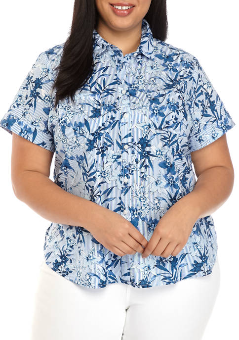 Plus Size Stripe and Floral Camp Shirt