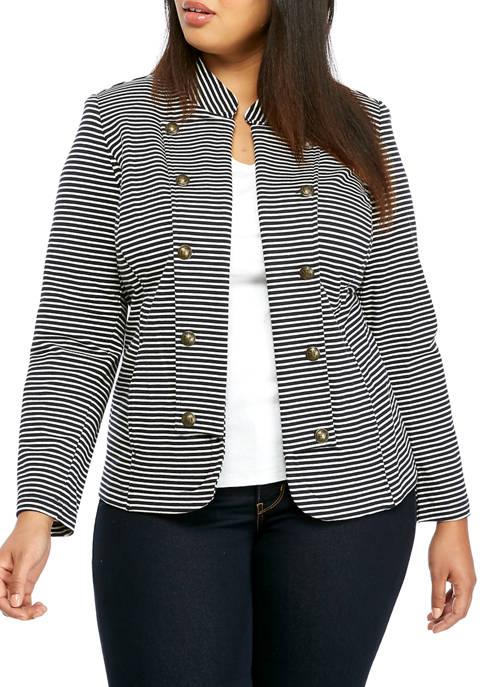 Plus Size Stripe Band Jacket