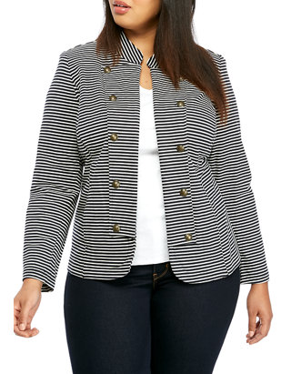 Plus Size Stripe Band Jacket