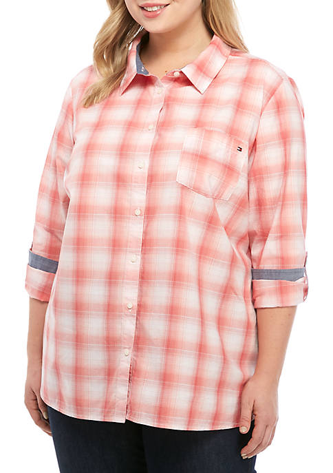 Plus Size Roll Tab Ombre Plaid Shirt