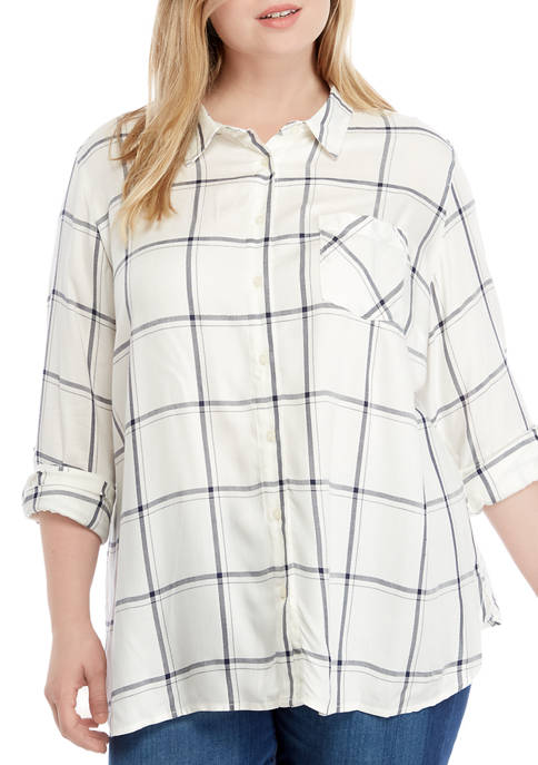 Plus Size Roll Tab Windowpane Shirt