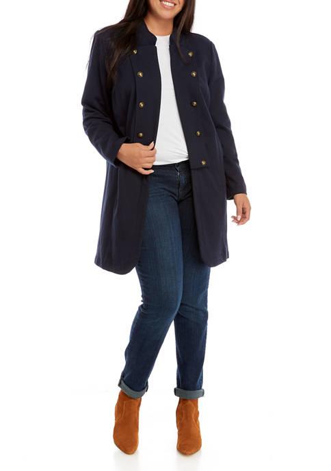 Plus Size Solid Long Band Jacket