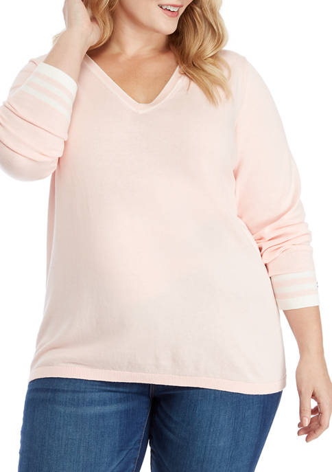 Plus Size Solid Ivy Sweater with Tipping