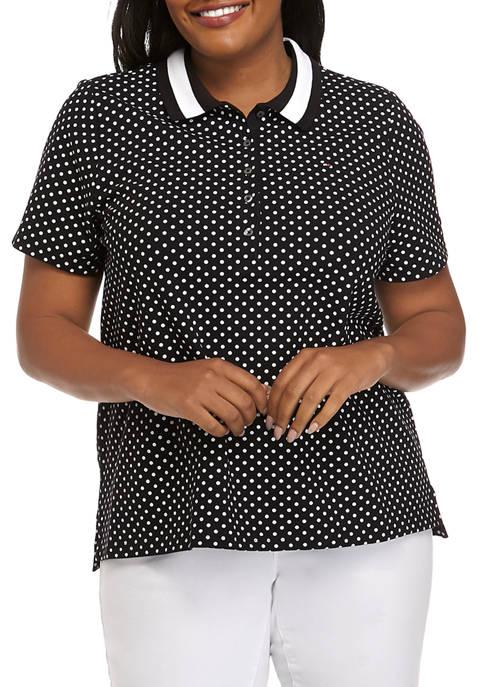 Plus Size Short Sleeve Dot Polo Shirt