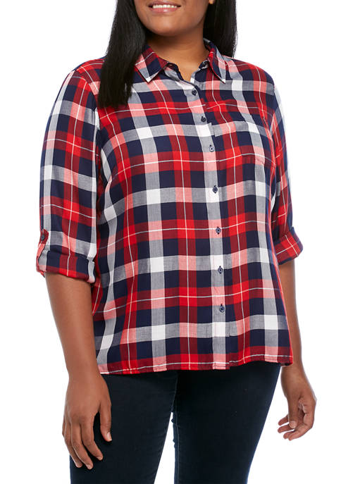 Plus Size Rayon Plaid Shirt