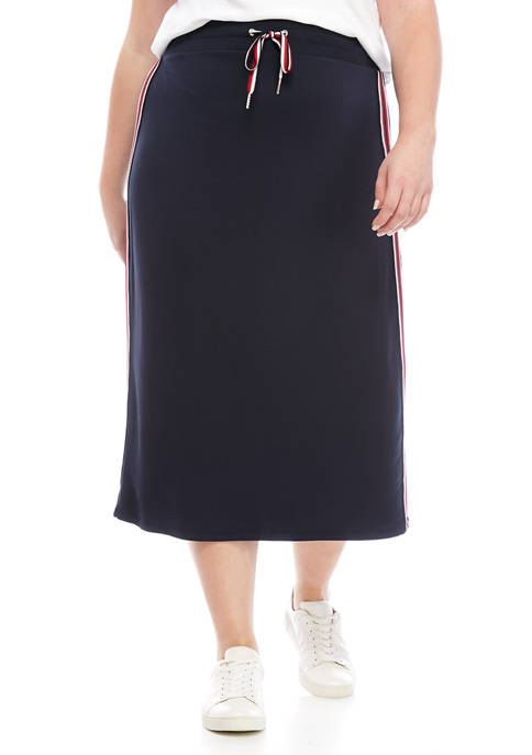 Plus Size Knit Side Stripe Skirt