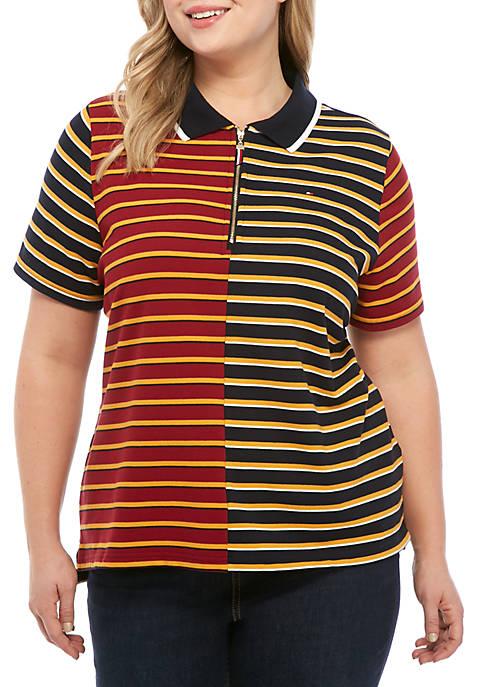 Tommy Hilfiger Plus Size Split Stripe Polo Shirt