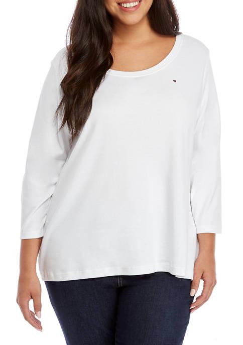 Plus Size 3/4 Solid Flag T-Shirt