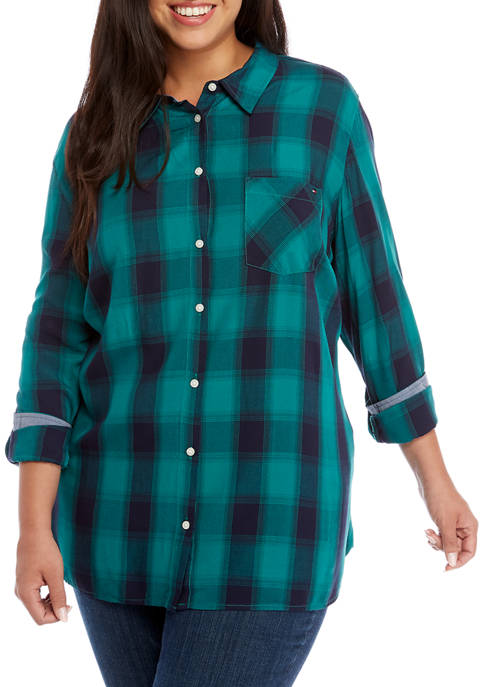 Plus Size Roll Tab Vertical Plaid Shirt