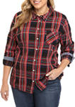 Plus Size Roll Tab Sleeve Button Down Shirt