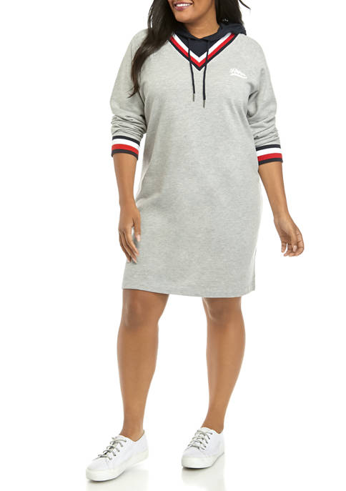 Plus Size 2 Front Hoodie Dress