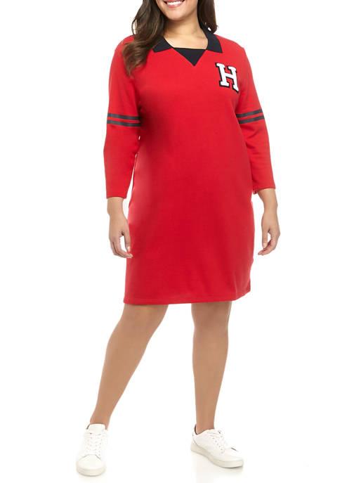Plus Size Long Sleeve H Patch Dress