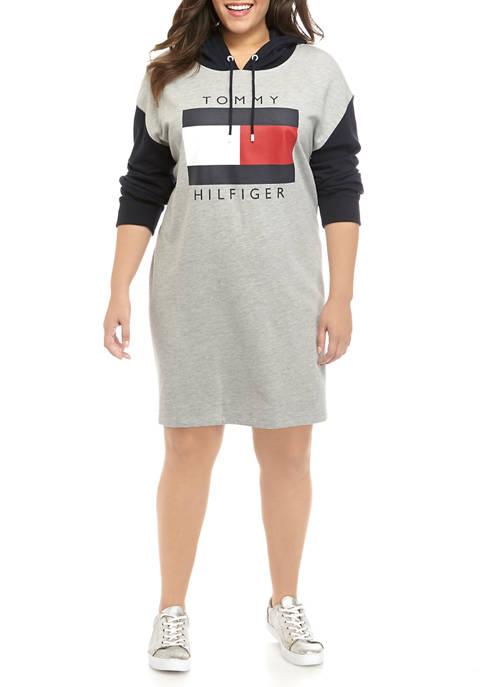 Plus Size Color Block Flag Hoodie Dress