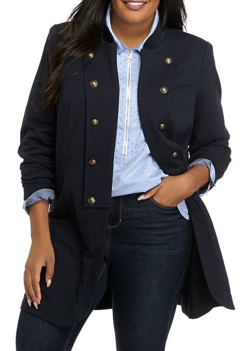 Plus Size French Terry Band Jacket