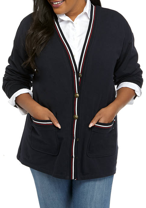 Plus Size French Terry Cardigan