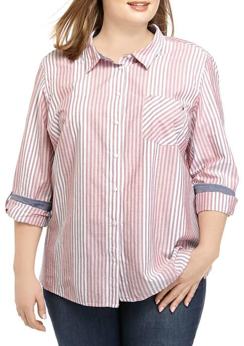 Plus Size Roll Tab Slope Stripe Button Down Shirt