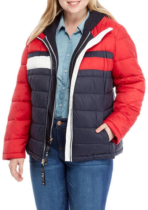 Plus Size Color Block Knit Hood Puffer Jacket