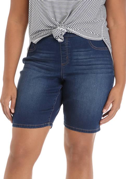 Kim Rogers® Plus Size Pull On Denim Bermuda