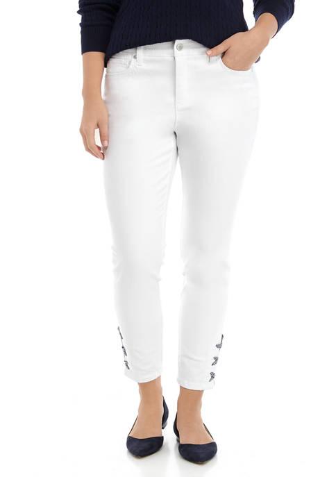 Womens Lace Up Denim Jeans