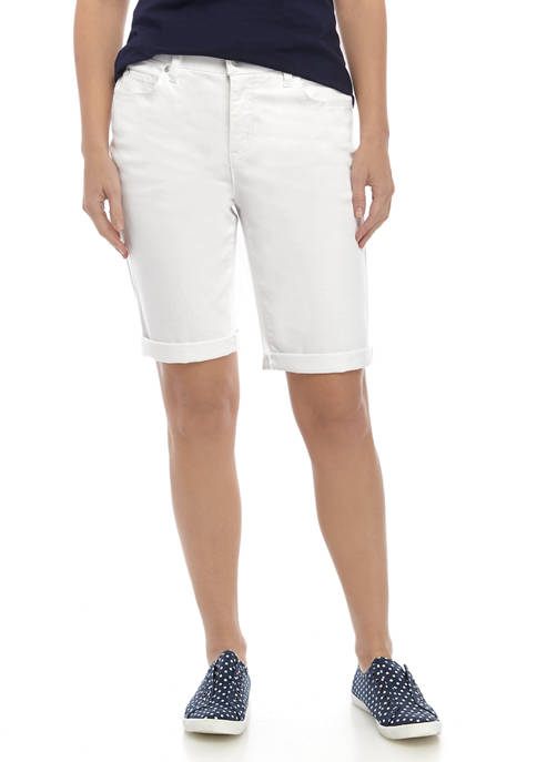 Kim Rogers® Womens Rolled Cuff Denim Bermuda Shorts