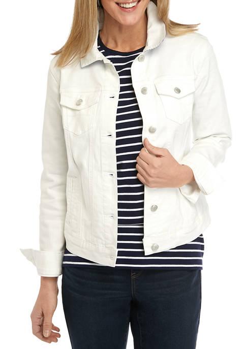 Kim Rogers® Womens White Denim Jacket