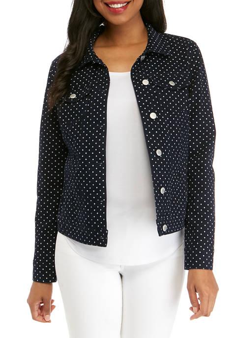 Kim Rogers® Womens Printed Denim Jacket