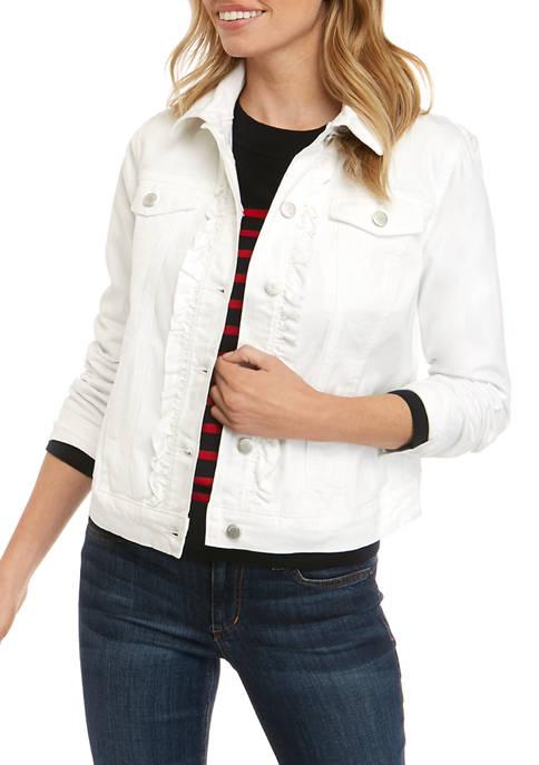 Kim Rogers® Petite Ruffle Denim Jacket