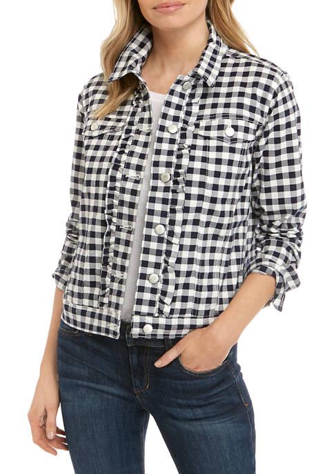 Kim Rogers® Petite Ruffle Gingham Denim Jacket