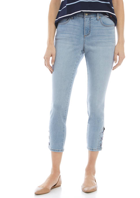 Kim Rogers® Petite Gingham Lace Up Fashion Jeans