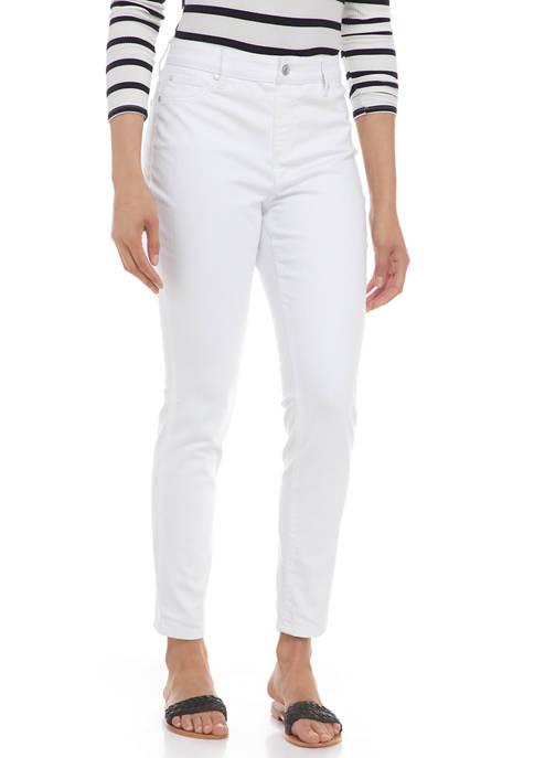 Kim Rogers® Womens White Denim Ankle Pants
