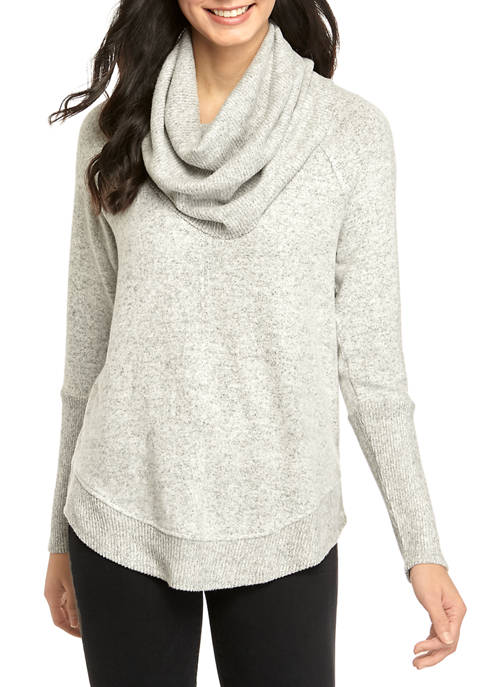 New Directions® Womens Long Raglan Sleeve Cowl Neck