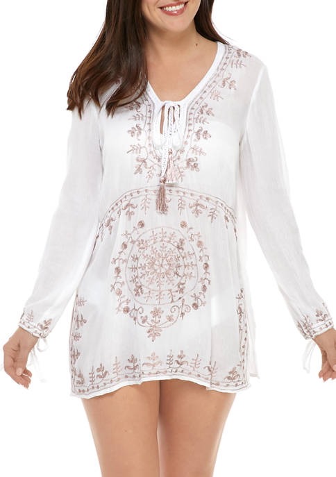Tunic Swim Cover Up with Embroidery