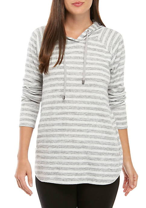 New Directions® Long Sleeve Stripe Hoodie with Round