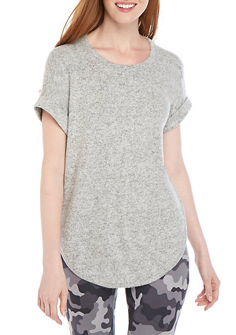 New Directions® Short Sleeve Brushed Hacci Knit High