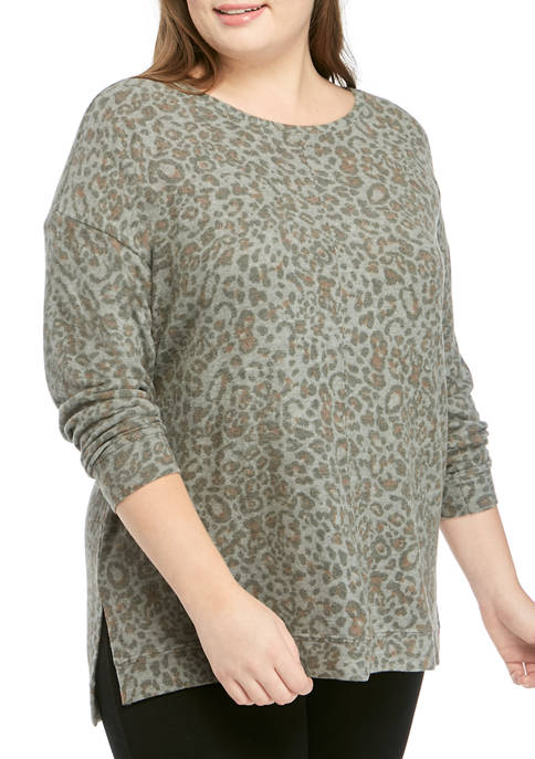 New Directions® Plus Size Hacci Knit Crew Neck