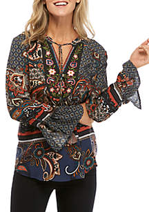 New Directions® Printed Woven Top with Embroidery