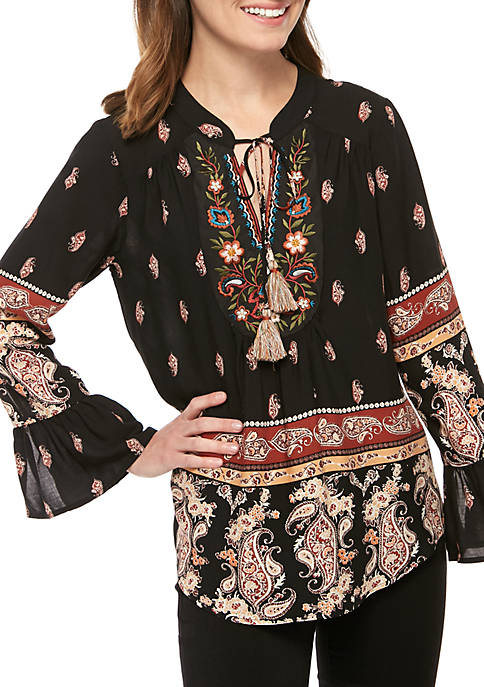 Printed Woven Top with Embroidery