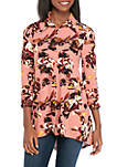 Womens 3/4 Ruched Sleeve Button Front Tunic