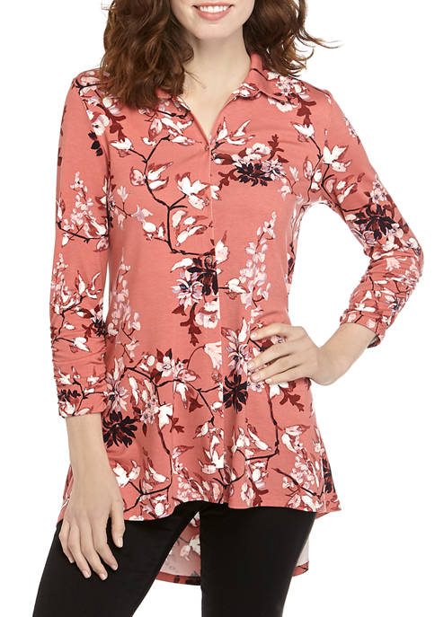 New Directions® Womens 3/4 Ruched Sleeve Button Front